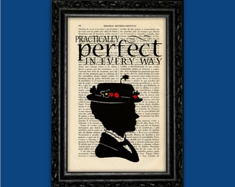 Mary Poppins Practically Perfect Print Poster Book Art Dorm Room Print Gift Silhouette Print Wall Decor Poster Dictionary Art Print