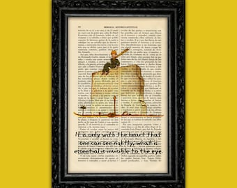 The Little Prince quote only with the heart Book Art Prints Le Petit Prince Gift Artwork print on book dictionary upcycled wall art (Nº15)