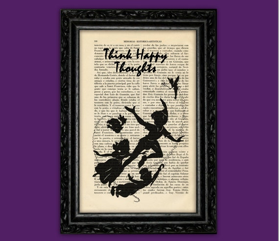 Peter Pan Tinkerbell And Kids Silhouette Art Print Flying