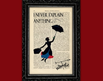 Mary Poppins I Never Explain Anything Art Print Poster Book Art Dorm Room Print Gift Silhouette Print Wall Decor Poster Dictionary