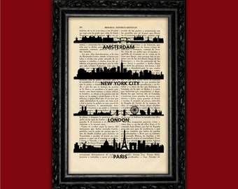 World Cities Skylines Art Print Building Silhouettes Poster Book Art Dorm Room Print Gift Print Wall Decor Poster Dictionary Art Print