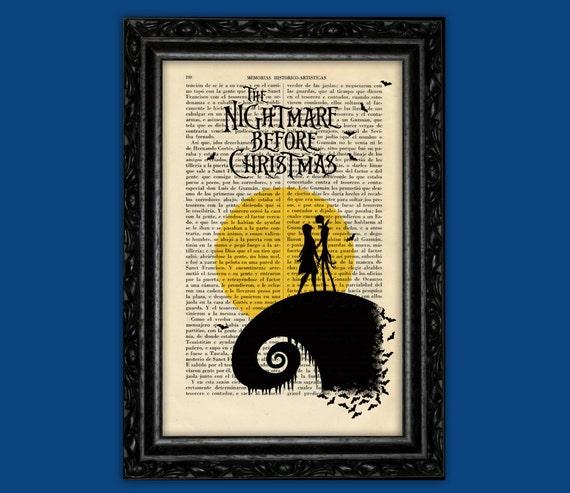 Jack Skellington Dictionary Art Print Poster Nightmare before Christmas Burton