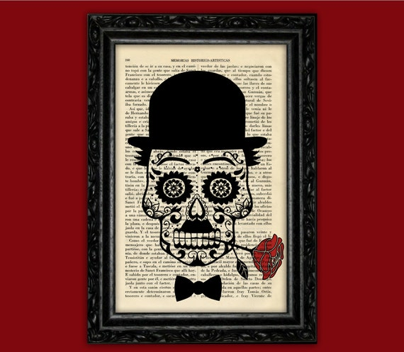 Sugar Skull Charles Chaplin Print Book Art Dia De Los Muertos Etsy