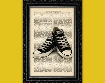 Black Converse All Star Sneakers Poster Dictionary Print Wall Art Hipster Sneakers Book Art pop sneaker Converse Print Poster