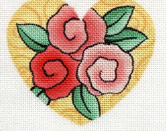 Hand painted needlepoint canvas 3 roses heart
