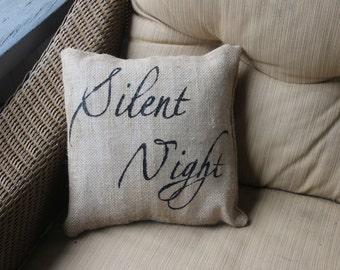 Silent night burlap pillow