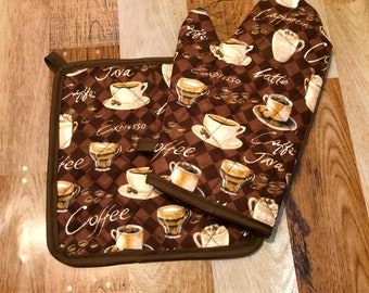 Coffee/cappucino insulated/quilted pot holder and oven mitt set