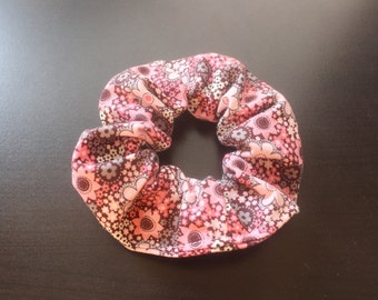 Pink and brown flowered hair tie/fabric hairband