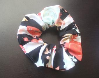 Black and coral flower hair scrunchie/hair tie/fabric hairband