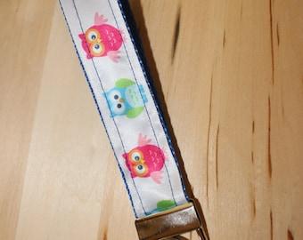 Blue multicolored owl keychain/keyfob/wristlet