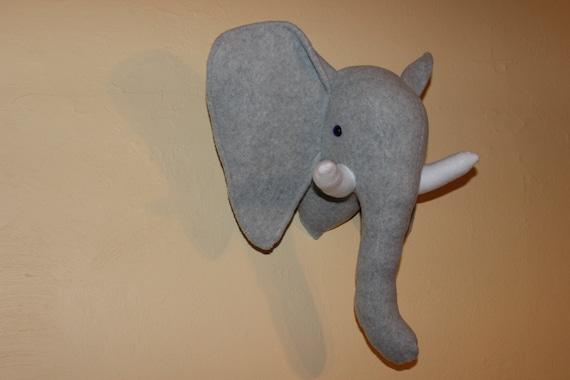 Grey Stuffed Elephant Wall Mount/nursery Decor/home Decor