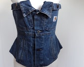 Custome Women 39 s Denim Corset Top, Lace Up Strapless Corset Made From Repurposed Carhartt Jean Jacket, Overbust Waist Trainer