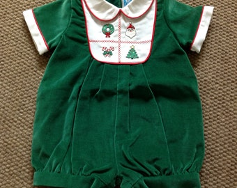 74a71aa79144 Baby Boy First Christmas Outfit, Embroidered Velvet Shortall, Boys Holiday  Romper, Cotton Bodysuit, Made in USA, New Baby Gift