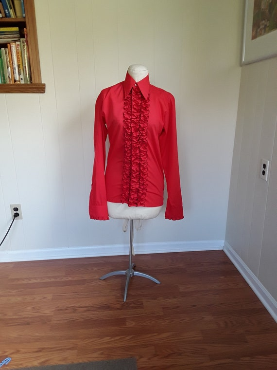 70s Men's Tux Shirt, Pointed Collar Red Ruffled Dr