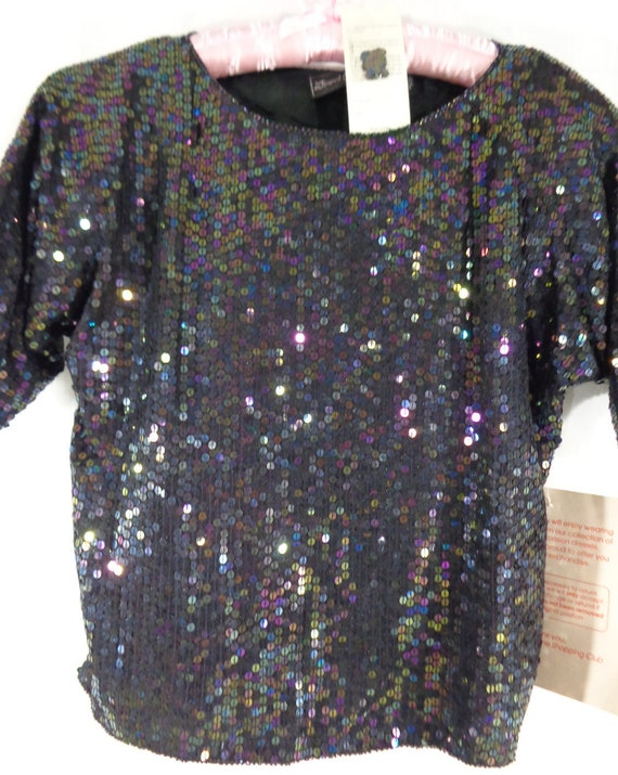 NOS Sequin Top, Black Short Sleeve Silk and Sequin