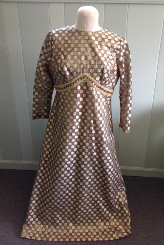 60s Evening Gown with Train, Metallic Gold & Bronz