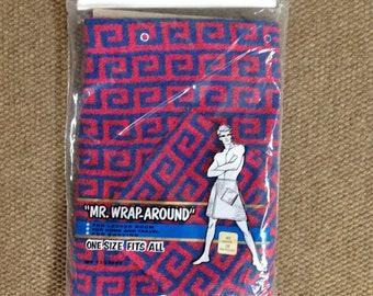 Vintage Men's Wrap Around Towel, Men's Bath Wrap, Red and Blue Towel Wrap Greek Key Design, One Size Gift for Him