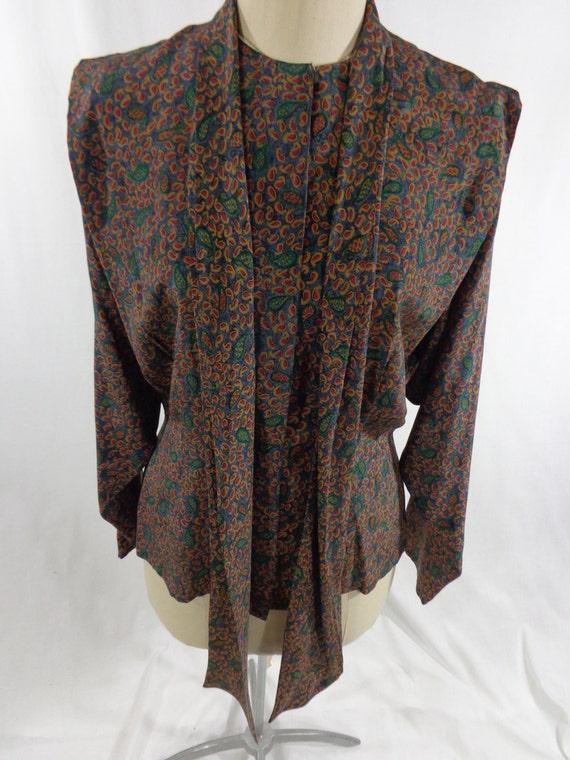 Vintage Silk Blouse, Oleg Cassini Silk Blouse & Sc