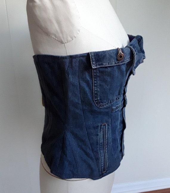 Custome Women's Denim Corset Top, Lace Up Straple… - image 9