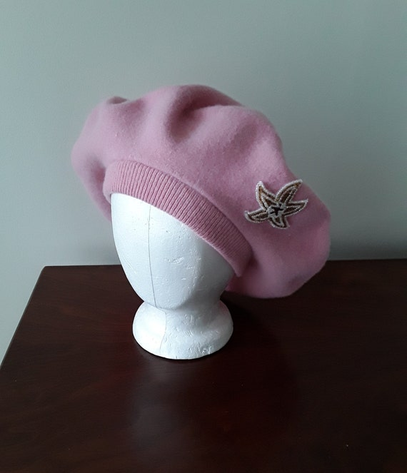 Vintage Wool Beret, Pink Beret with Starfish Appli