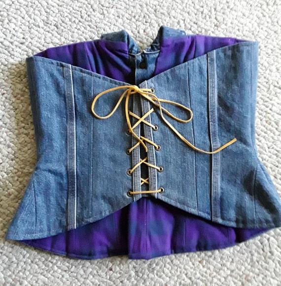 Custome Women's Denim Corset Top, Lace Up Straple… - image 6