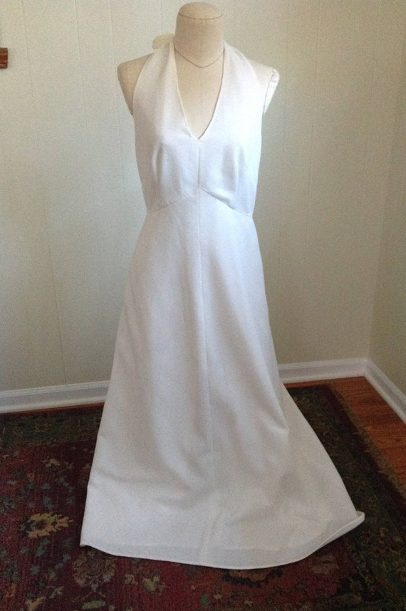 Vintage White Halter Dress, 70s Halter Top Maxi Dr