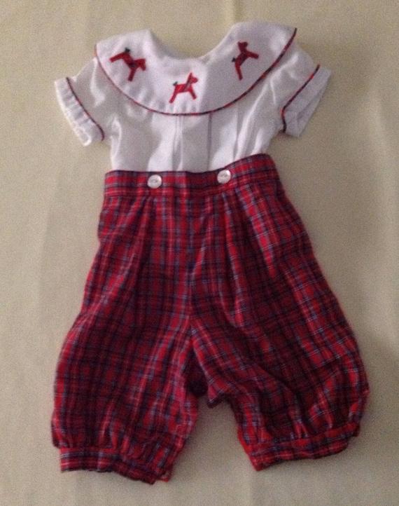 c44f1708f5b2 Vintage Baby Boy Holiday Plaid Romper White Shirt and Plaid