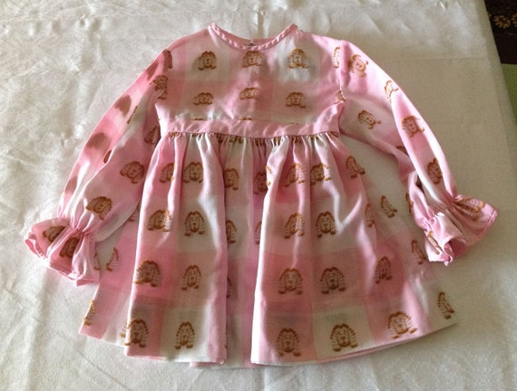 1971 Cinderella Plaid Dress, Long Sleeve Pink & Wh