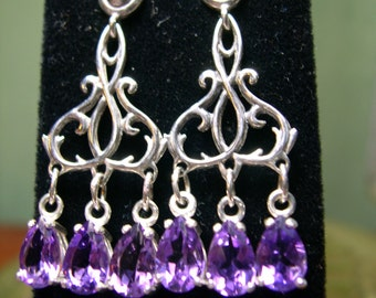 Sterling Silver Amethyst Art Nouveau Chandelier Earrings Free Shipping