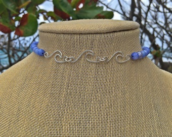 Ride the Wave Triple Wave Choker Necklace with Lavender Purple River Shell Beads by Pisces Island