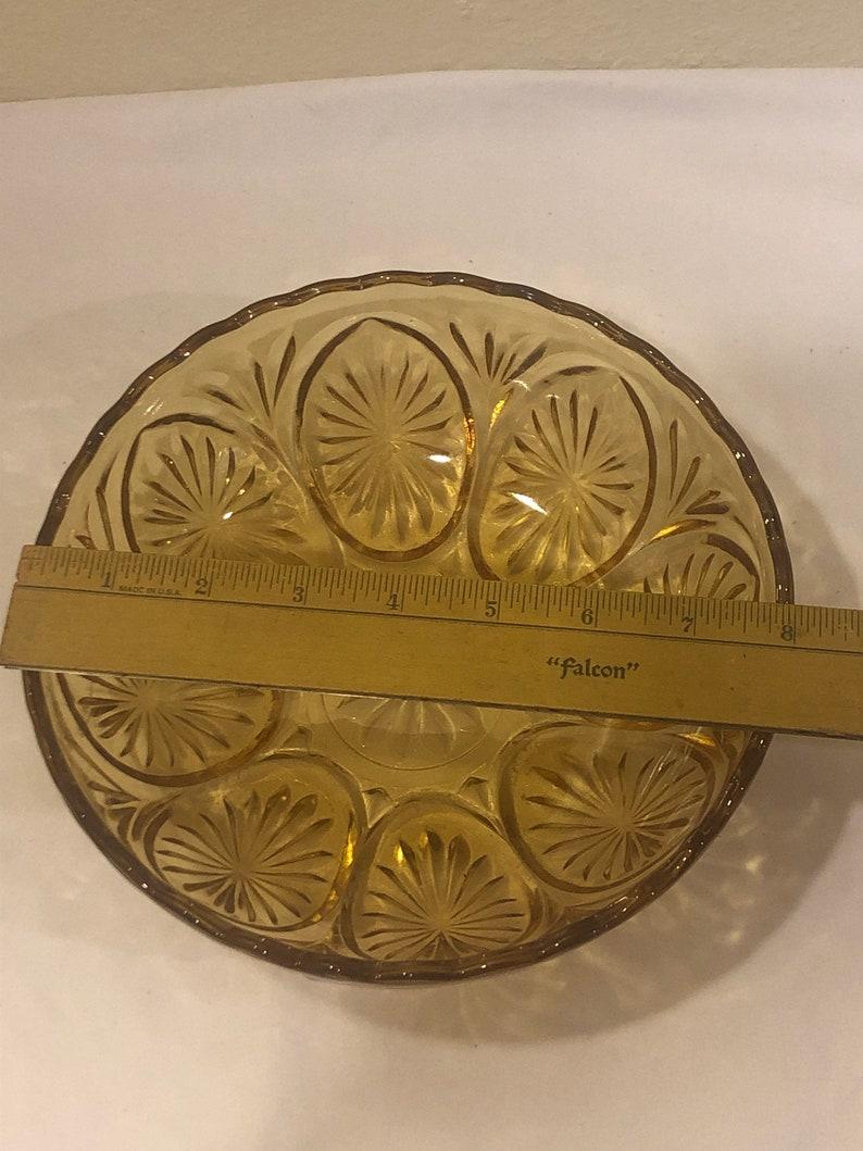 Amber Glass Bowl Vintage Cut Glass