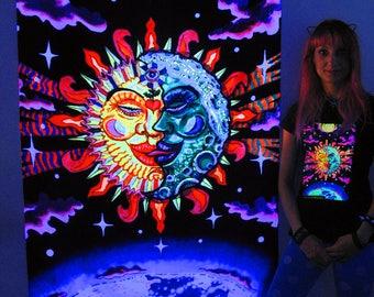 Magic Sunmoon UV Black Light Fluorescent Glow Psychedelic Psy Goa Trance Art Backdrop Wall Hanging Home Club Party Festival Deco Yin Yang Om