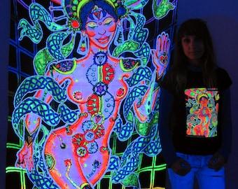 Chakra Girl UV Black Light Fluorescent Glow Psychedelic Psy Goa Trance Art Backdrop Wall Hanging Home Club Party Festival Deco Yoga Hindu