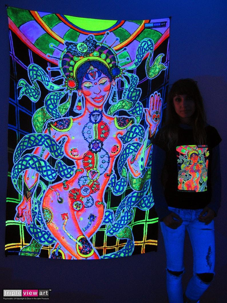 Chakra Girl UV Black Light Fluorescent Glow Psychedelic Psy image 0
