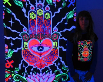 The Hand UV Black Light Fluorescent Glow Psychedelic Psy Goa Trance Art Backdrop Wall Hanging Home Club Party Festival Deco Lotus Evil Eye