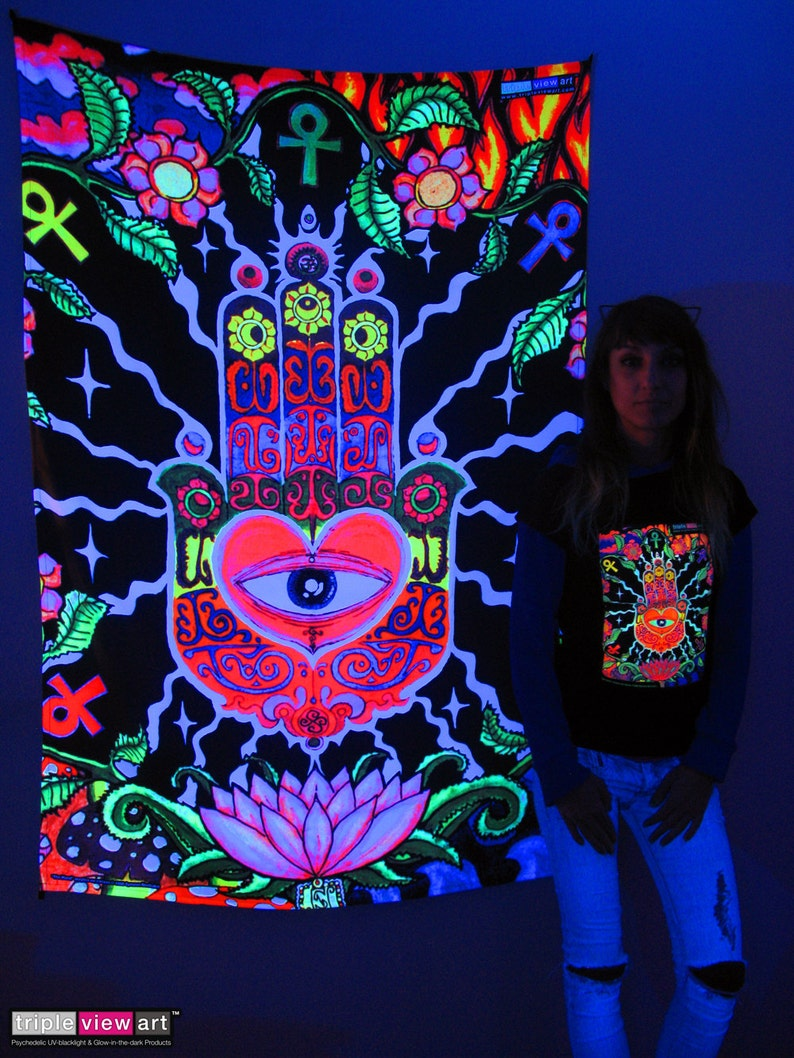 The Hand UV Black Light Fluorescent Glow Psychedelic Psy Goa image 0