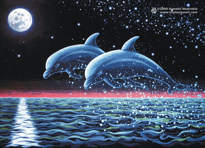Two Dolphins UV Black Light Fluorescent & Glow In The Dark image 0