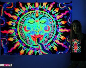 Rainbow Sun UV Black Light Fluorescent Glow Psychedelic Psy Goa Trance Art Backdrop Wall Hanging Home Club Party Festival Deco 3rd Eye Swirl