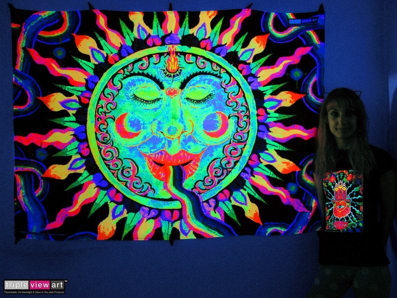 Rainbow Sun UV Black Light Fluorescent Glow Psychedelic Psy image 0