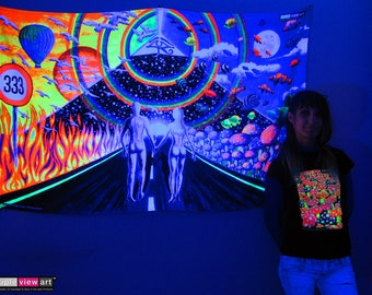 New Horizons UV Black Light Fluorescent Glow Psychedelic Psy Goa Trance Art Backdrop Wall Hanging Home Club Party Festival Deco Rainbow 333