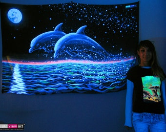 Two Dolphins UV Black Light Fluorescent Glow Psychedelic Psy Goa Trance Art Backdrop Wall Hanging Home Club Party Festival Deco Sea Romantic