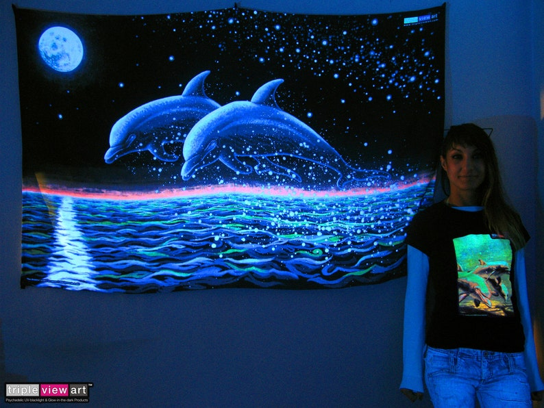 Two Dolphins UV Black Light Fluorescent Glow Psychedelic Psy image 0