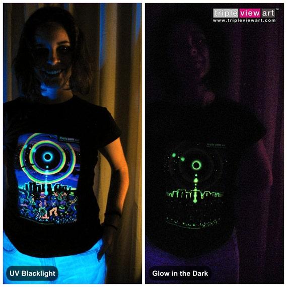 Felpa con Cappuccio da Uomo T-shirt uv-blacklight Glow-In-The-Dark PSYCHEDELIC PSY australiano Trance Club