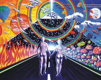 New Horizons UV Black Light Fluorescent & Glow In The Dark Phosphorescent Psychedelic Psy Goa Trance Art Postcard