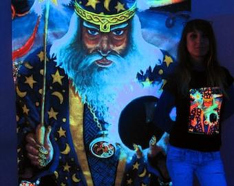 Merlin UV Black Light Fluorescent Glow Psychedelic Psy Goa Trance Art Backdrop Wall Hanging Home Club Party Festival Deco Dark Magus Warlock