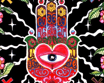 The Hand UV Black Light Fluorescent & Glow In The Dark Phosphorescent Psychedelic Psy Goa Trance Art Poster