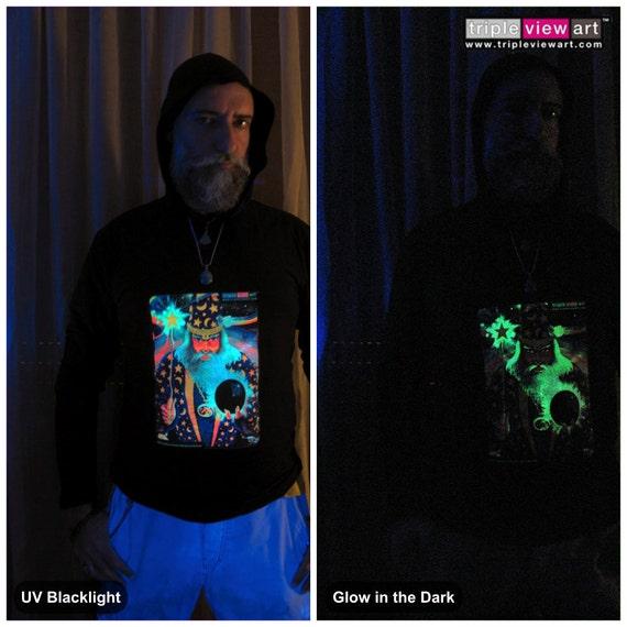 MENS HOOD T-SHIRT UV-Blacklight Glow-In-The-Dark Psychedelic Psy Goa Trance Club