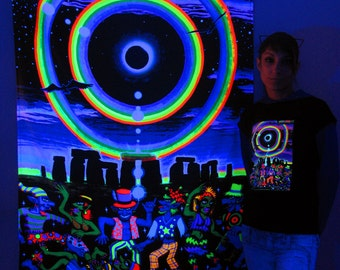 Eclipse Over Stonehenge UV Black Light Fluorescent Glow Psychedelic Psy Goa Trance Art Backdrop Wall Hanging Home Club Party Festival Deco