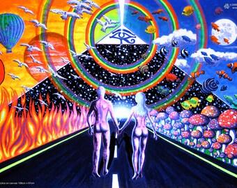 New Horizons UV Black Light Fluorescent & Glow In The Dark Phosphorescent Psychedelic Psy Goa Trance Art Poster