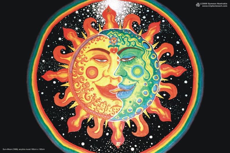 Sun and Moon UV Black Light Fluorescent & Glow In The Dark image 0